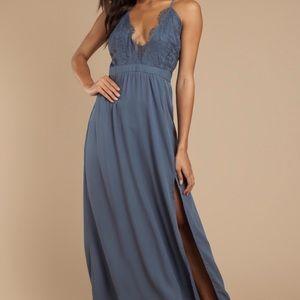 TOBI Slate Blue Lace Maxi Dress XS NWT